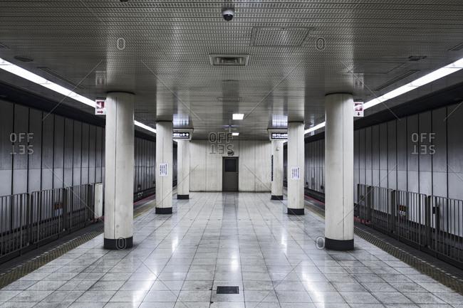 Empty subway station, Osaka, Japan