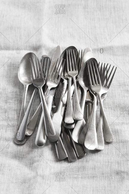 Cutlery on linen napkin