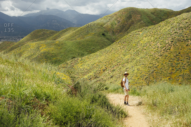 Man standing on hiking trail leading through the green hills with wildflowers in California