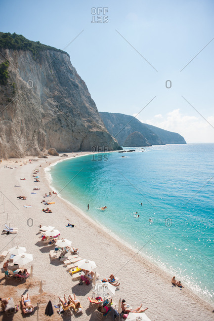 Porto Katsiki beach in Greece with beachgoers