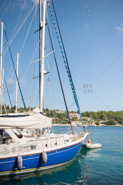 Luxury sailboat moored off Fiskardo, Kefalonia, Greece