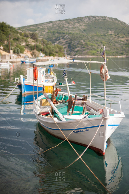 October 3, 2016 - Ithaca, Greece: Fishing boats moored offshore in Vathy