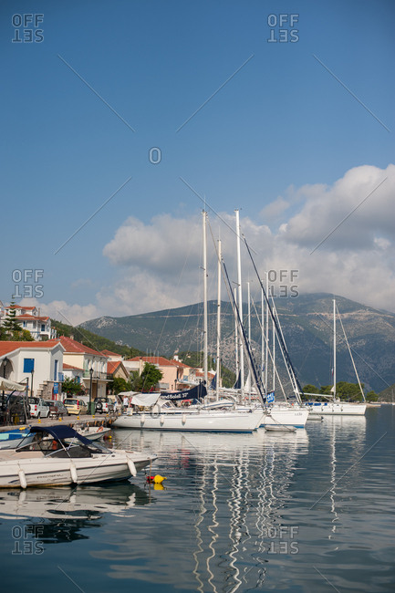 October 3, 2016 - Ithaca, Greece: Luxury sailboats harbored at Vathy