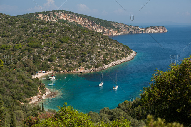 Scenic view of boats at beach on Ithaca, Greece