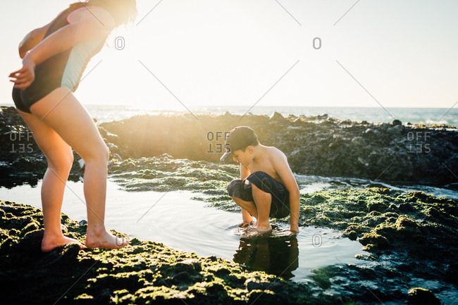 Sister and brother playing in a tidal pool on a beach