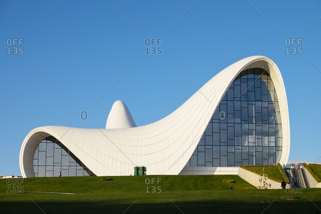 Baku, Azerbaijan - March 21, 2015: The front of the Heydar Alyev Centre in Baku, Azerbaijan