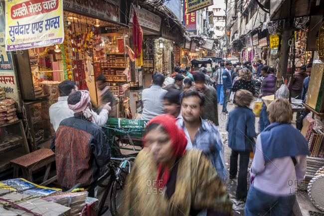 Delhi, India - January 25, 2013: Daily life around Kinari Bazar