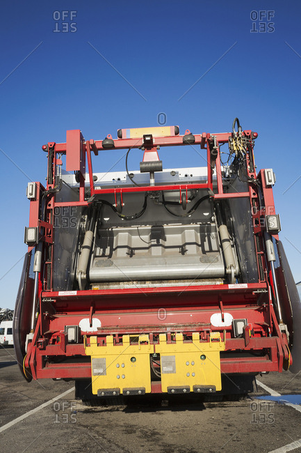 Rear view of a refuse collection vehicle