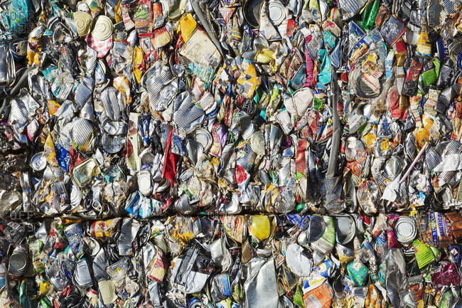 Oxfordshire, England - January 4, 2016: Close up of compressed drinks cans at a recycling center.