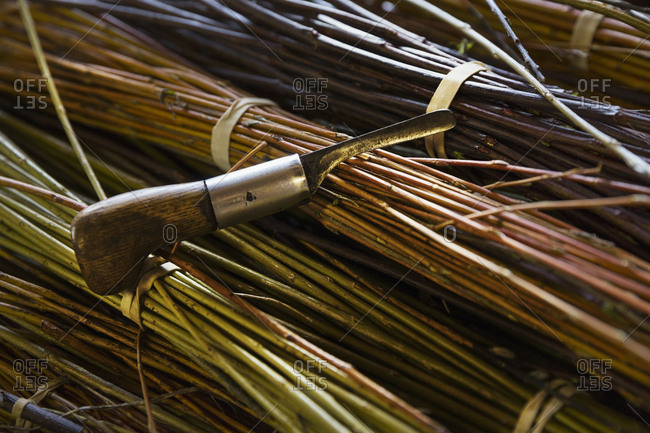 Close up of willow bundles and hand tool in a basket weaver's workshop.