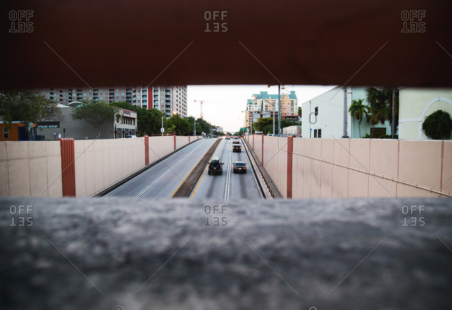 Fort Lauderdale, Florida, USA - May 6, 2017: View of cars on road from an overpass on Las Olas Boulevard