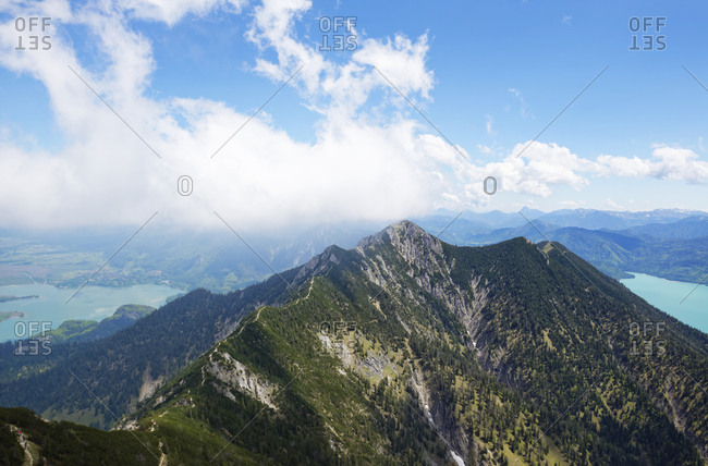 Germany- Bavaria- view from Heimgarten to Herzogstand- Lake Kochel and Lake Walchensee