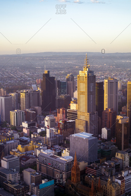 Australia, Melbourne - May 10, 2017: View to financial district from above