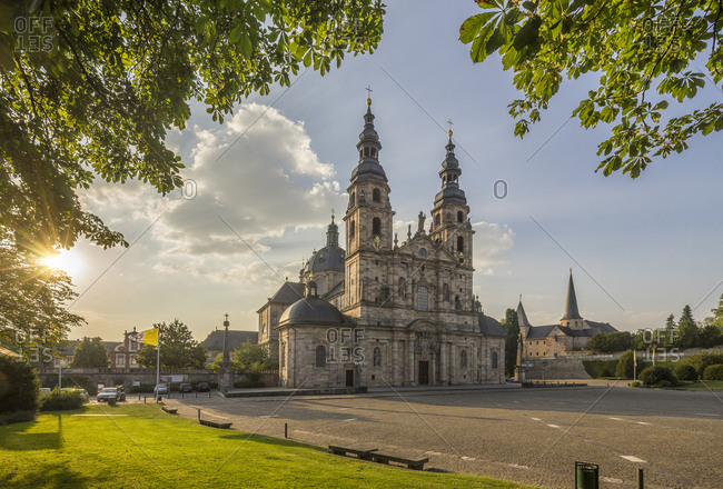 Germany, Fulda - September 14, 2016: View to Fulda Cathedral Sankt Salvator at evening twilight