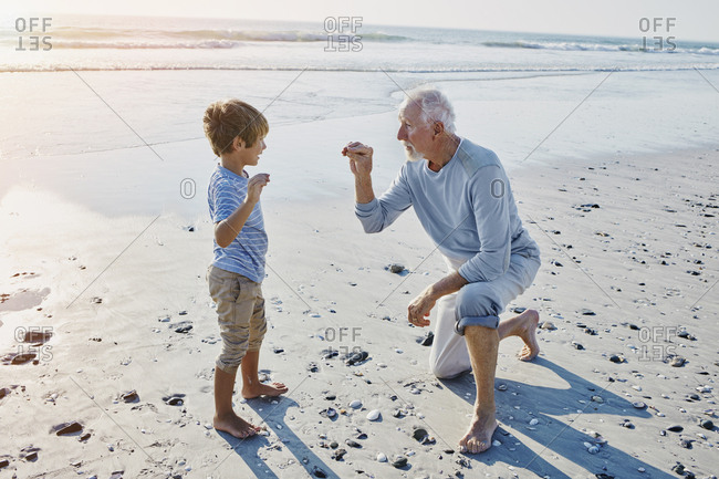Grandfather and grandson on the beach
