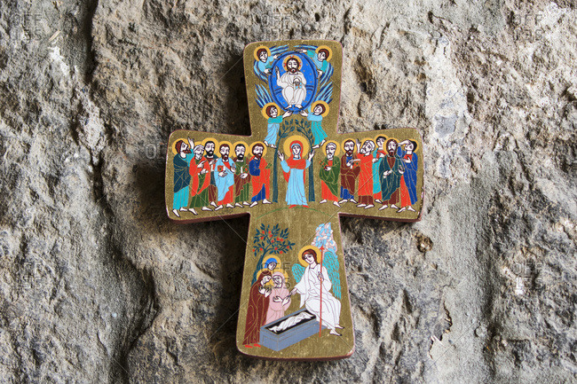 Ararat Province, Armenia - May 9, 2017: Cross with paintings depicting the life of Jesus at Khor Virap Monastery