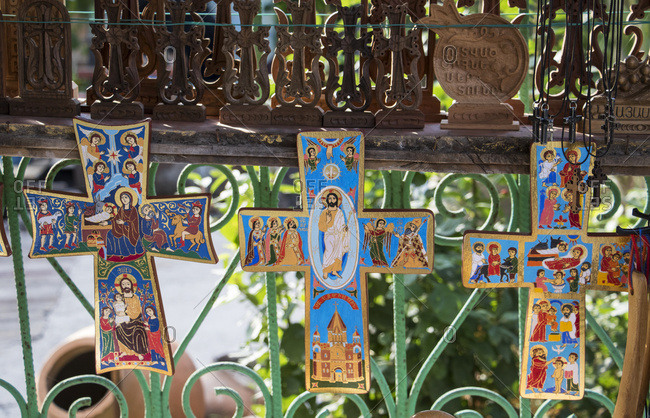 Lori, Armenia - May 9, 2017: Painted crosses for sale by the Sanahin Monastery