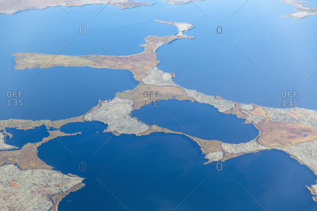 Aerial view of a tundra landscape filled with small ponds, Yukon Delta, Arctic Alaska, Saint Mary's, Alaska, United States of America