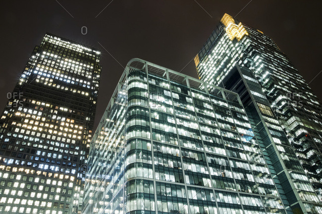 Office towers in Canary Wharf at nighttime, London, England