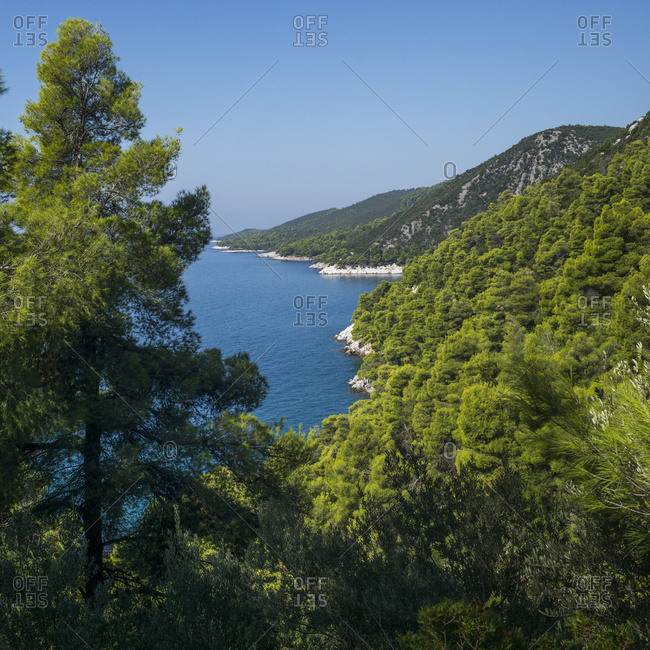 View of the coastline of a greek island with lush green foliage on the hillsides, Sporades, Thessalia Sterea Ellada, Greece