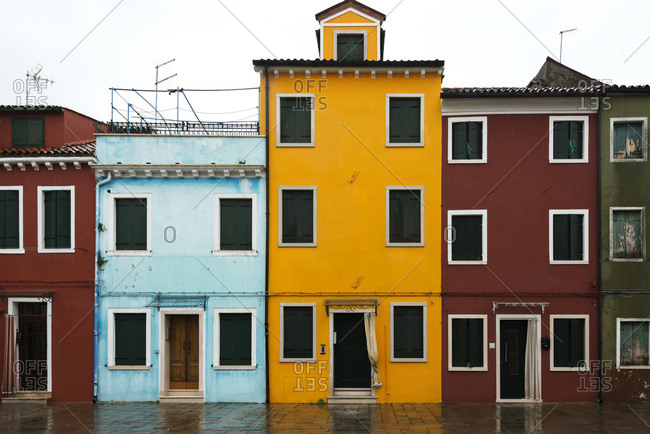 Colorful houses in a row, Venice, Italy