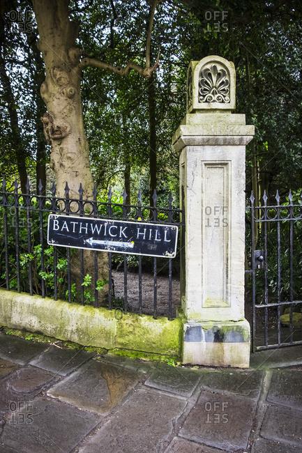 Sign pointing towards Bathwick Hill, Bath, Somerset, England