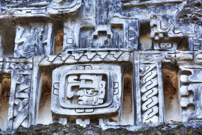 Stucco Frieze, Castillo, Xunantunich Mayan Ruins, near San Ignacio, Belize