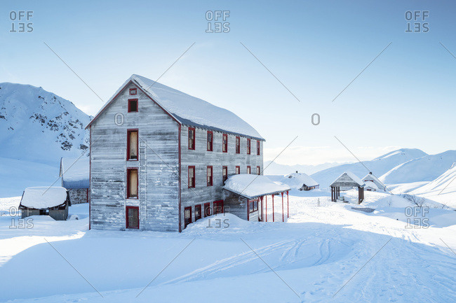 An old building from mining days in Independence Mine in Hatcher Pass in winter, South-central Alaska, Alaska, United States of America