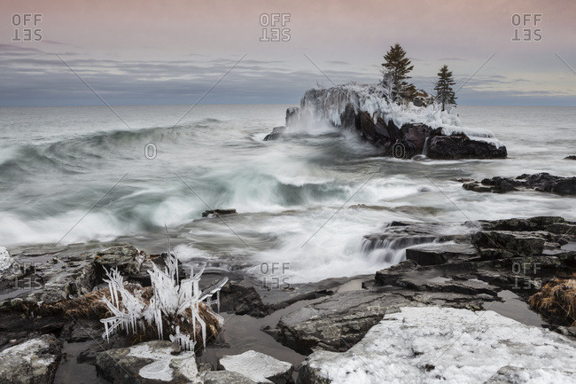 Snow and ice along the shoreline of Lake Superior in winter, Thunder Bay, Ontario, Canada