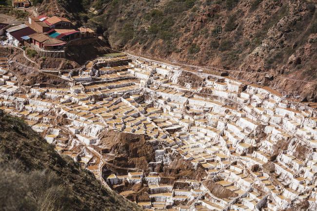 Family owned salt ponds in Sacred Valley near Urubama, Maras, Cusco, Peru
