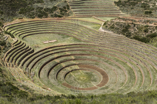 Circular terraces of Moray, town of Maras in Sacred Valley of Peru, Moray, Cusco, Peru