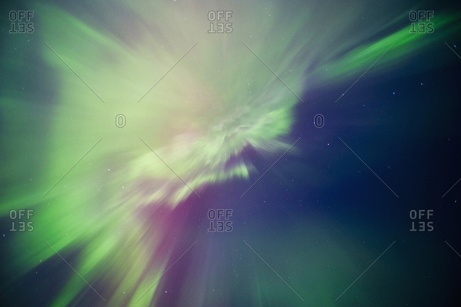 Aurora borealis corona display over Turnagain Arm, Alaska, United States of America