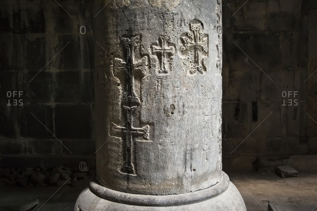 Crosses carved on the stone columns of the interior of the Church of the Holy Redeemer (Amenaprkich) at Sanahin Monastery, Lori Province, Armenia