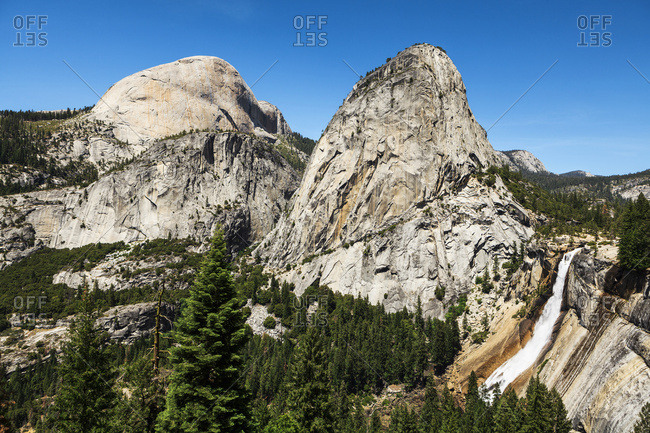View of Half Dome, Liberty Cap and Nevada Fall, Yosemite National Park, California, United States of America