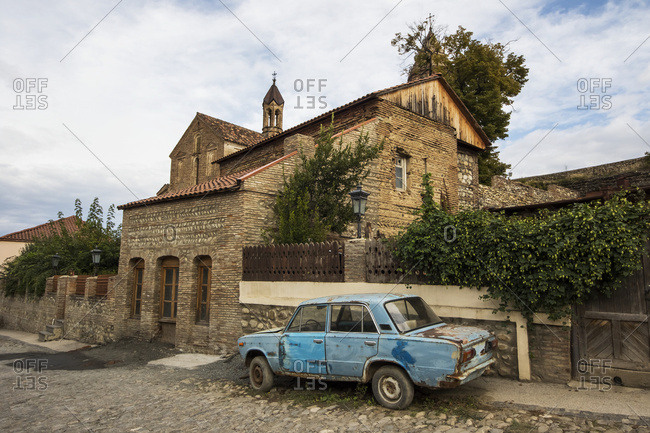 Lada parked by the Church of St. George, Sighnaghi, Kakheti, Georgia