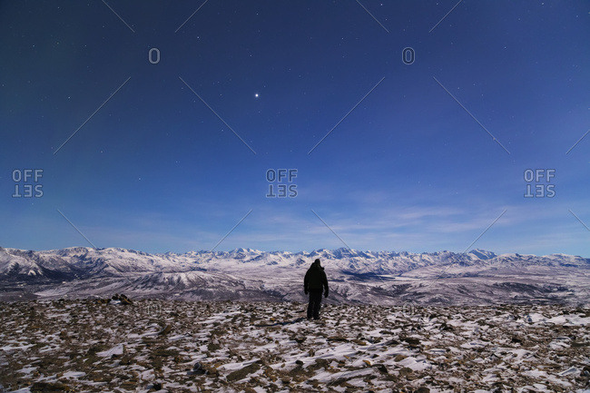 A man looks toward the Alaska Range from the top of Donnelly Dome on a moonlit night (the bright object in the sky is Jupiter), Alaska, United States of America