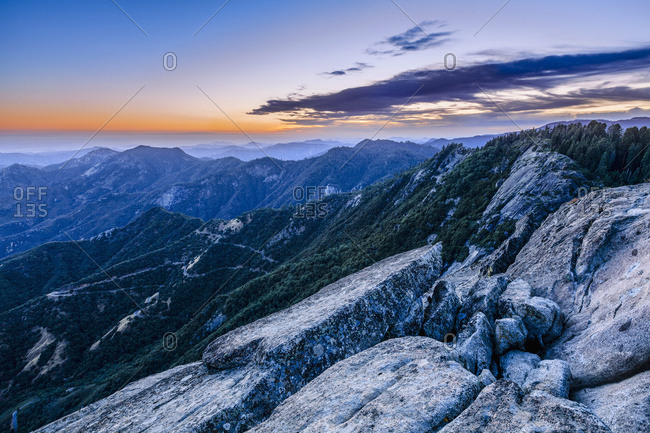 View from Moro Rock at dusk, Sequoia National Park, California, United States of America