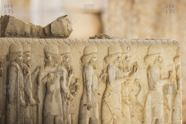Bas-relief of Medes dignitaries on the Eastern Staircase of the Apadana or Audience Hall of Darius I, Persepolis, Fars Province, Iran