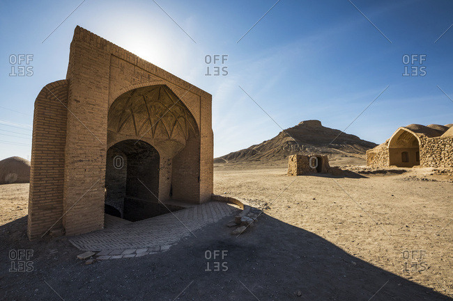 Small adobe structure by the Zoroastrian Towers of Silence, Yazd, Iran