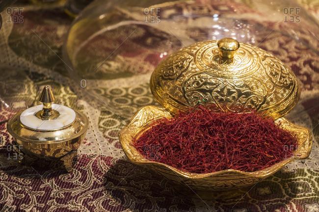 Saffron for sale at the Tajrish Bazaar, Tehran, Iran