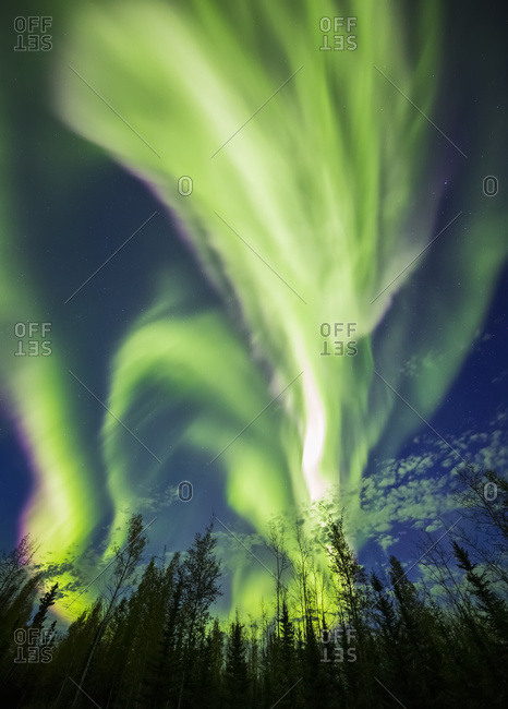 The aurora borealis goes wild in an unusually bright late summer display, Alaska, United States of America