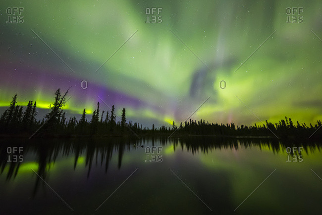 The aurora borealis fills the sky above the Clearwater River in Delta Junction, Alaska, United States of America