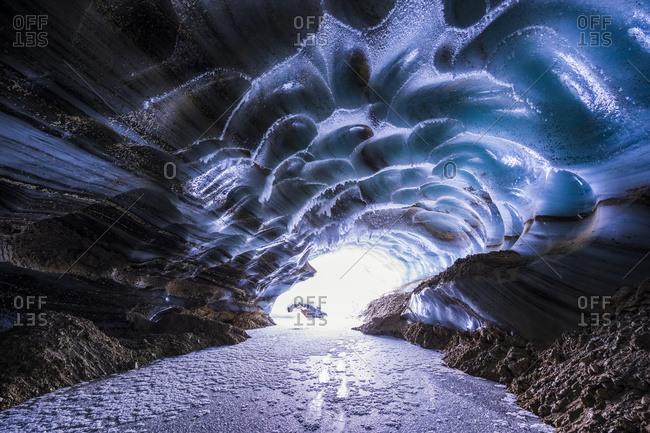 Castner Glacier ice cave in the Alaska Range, Alaska, United States of America