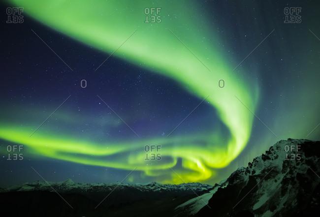 The aurora stretches over the Alaska Range, Alaska, United States of America