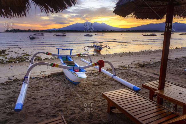 Sunrise in Gili Trawangan, an island located in between Bali and Lombok island, Gili Trawangan, Indonesia