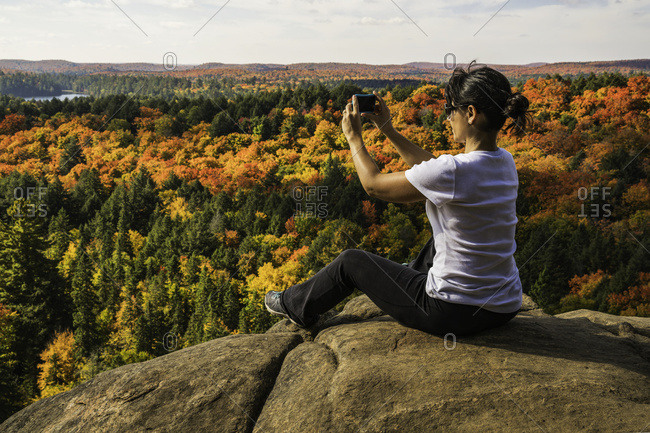 Woman using a smart phone to take pictures of the autumn colors in Algonquin Park, Ontario, Canada