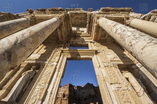 Facade of Library of Celsus, Ephesus, Izmir, Turkey