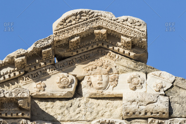 Bas relief on the Library of Celsus, Ephesus, Izmir, Turkey