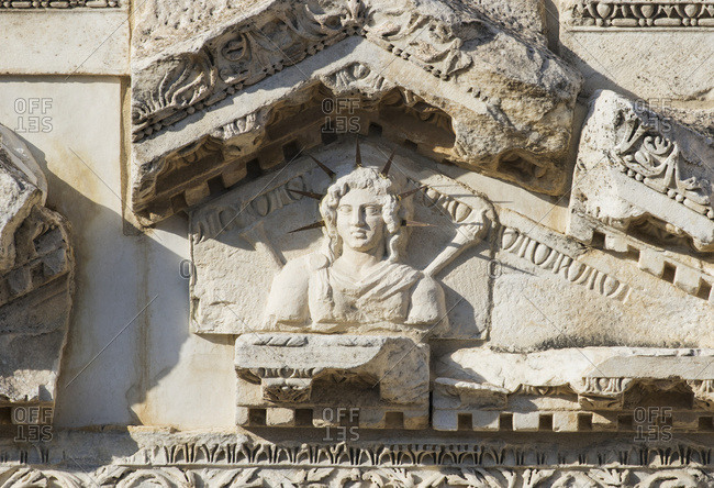 Detail of the stage building of the theatre, dedicated to Apollo and Artemis, Hierapolis-Pamukkale, Denizli, Turkey