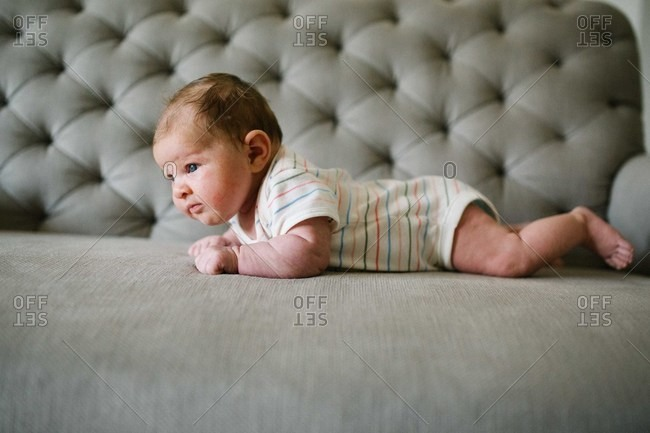 Side view of a newborn baby on a gray sofa